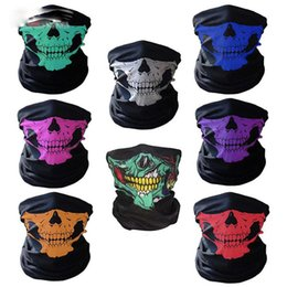 Bandeau Stock Pas Cher-Halloween Skull Face Mask Sports de plein air Ski Bonnets chauds Bandeau Cyclisme Moto masque écharpe foulards 14 couleurs en stock
