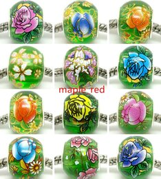 $enCountryForm.capitalKeyWord NZ - 50pcs Round Mixed Green Flower Crystal Beads for Jewelry Making Loose Lampwork Charms DIY Beads for Bracelet Wholesale in Bulk Low Price