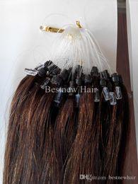 """$enCountryForm.capitalKeyWord NZ - Color #4 Dark Brown 100G pack 16""""18""""20""""22""""24""""26"""" Remy Micro Ring Loop 100% INDIAN Human Hair Extensions Color #4 Dark Brown"""