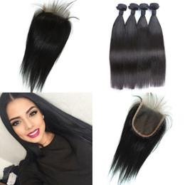 vietnamese virgin hair closure 2019 - Straight Virgin Hair Bundles Vietnamese Hair Weave With 4X4 Free Parting Lace Closure Bleached Knots LaurieJ Hair cheap