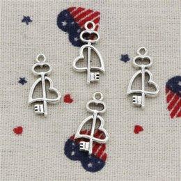 $enCountryForm.capitalKeyWord NZ - Wholesalecs- 153pcs Charms key cross heart 23*12mm Pendant,Vintage Tibetan Silver,For DIY Necklace&Bracelets Jewelry Accessories