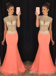 $enCountryForm.capitalKeyWord NZ - Keyhole Collar Beaded Arabic Prom Dresses Coral Chiffon Cap Sleeves Long 2016 Custom Made Evening Special Occasion Gowns For Pageant Party