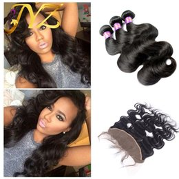Way part lace frontal online shopping - Free Middle Way Part ear to ear cheap Peruvian virgin hair body wave lace frontal closure piece with hair bundles