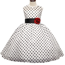 girls baby night dress UK - Kids Girl Black Polka Dot Summer Dress Baby Girls Princess Events Party Dress Wedding Gown for Children Clothing Girl 3-10 Years DK1038CR