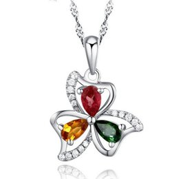 Flowers For Summer Planting Canada - Elegant 925 Sterling Silver Summer Flower Tourmaline Pendant Luxury Crystal Clover Design Necklace Pendant Jewelry Gift For Women