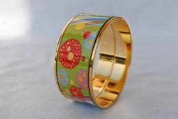 $enCountryForm.capitalKeyWord NZ - Flower of Love series 18K gold-plated enamel bangle bracelet for woman Top Advanced production bracelets bangles Fashion accessories jewelry
