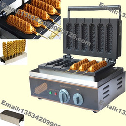 $enCountryForm.capitalKeyWord Australia - Free Shipping 6pcs Commercial Use Non Stick 110v 220v Electric French Hot Dog Waffle Maker Machine Baker with Stainless Steel Stand Holder