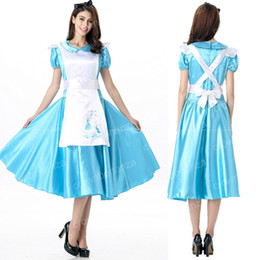 Cosplay Cosplay D'alice Alice Pas Cher-Anime Alice In Wonderland Cosplay Costumes Alice Women Fancy Party Maid Robe Blue pour Halloween Costume à thème