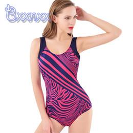 13df5eb38d9b4 Sport Print Striped One Piece Swimsuit Women Plus Size Swimwear Big Size  Backless Modest Bathing Suit Low Back Shape Swim Wear