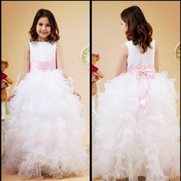 Organza Wraps For Wedding Dress Canada - 2016 Princess White Jewel Neck Flower Girl Dresses Ruffles A-Line Satin and Organza Cheap Girl Dress for Wedding Party Gowns With Pink Bow