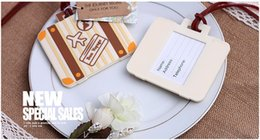 Luggage tags gifts online shopping - The new wedding gift reply suitcase luggage tag Write bon voyage on travel luggage card