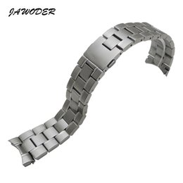 Silver pure bracelet men online shopping - JAWODER Watchband mm Men Pure Solid Curved End Stainless Steel Brushed Watch Band Strap Bracelets for TAG HEUER CARRERA