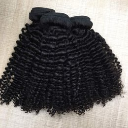 "black peruvian hair extensions Canada - 8A Full Bundles Brazilian Hair Afro kinky Curly Wavy Vrgin Peruvian Hair Weave 1B Natural Black 12""-30"" Weaving Hair Extensions Mixed Length"