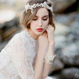 Мода медных сплава цветы хрустальные жемчужные бусины шелковые цепные волосы свадебные свадебные аксессуары для волос ювелирные изделия на Распродаже