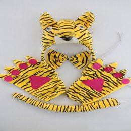 Headband Kits Australia - Fun 3D Yellow Tiger Party Animal Headband Set Bow Tail Paws Fancy Dress Halloween Carnival Supplies Decor Gift