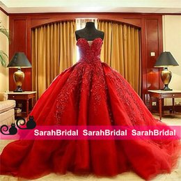 $enCountryForm.capitalKeyWord Canada - Luxury Ball Bridal Gowns Red Wedding Dresses 2019 Top Quality Beaded Sweetheart for Gothic Wicca Victorian Goth Brides Wear Corset Plus Size