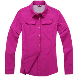 Wholesale Wholesale-2016 Women Removable Sleeve Quick Drying Shirts Casual Sports Clothes Outdoor Breathable Hiking Tops Fishing Hiking Shirts RW054