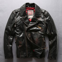 $enCountryForm.capitalKeyWord Canada - vintage Brown Flocking cow genuine leather jacket lapel neck Quilted locomotive motorcycle leather jackets