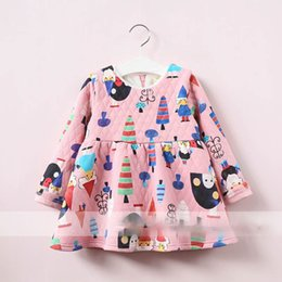 Robe À Volants Jaunes Pas Cher-Everweekend Girls Cartoon Print Ruffles Dress Cute Baby Pink et Yellow Color Clothes Princess Fleece Doublant Autumn Winter Dress