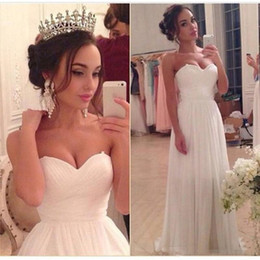 organza lace fabric wedding dress 2019 - 2017 Sexy Beach Chiffon Fabric Wedding Dress A line Sweetheart Simple Floor Length Bridal Gown Long Sweet Size 2 Skinny