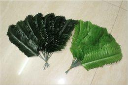 Discount silk tree leaves - Wholesale-38 cm Fabric Wedding Home Decor Phoenix Coconut Sago Palm Tree Artificial Plant Fern Branches Leave Fake Folia