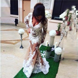 $enCountryForm.capitalKeyWord Canada - White Lace Long Sleeve Plus Size Prom Dresses 2017 Sexy v Neck See Through Mermaid Evening Gowns Custom Made Formal Party Dresses