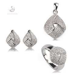 Copper Earrings Australia - Copper Rhodium Plated Cute heart set (ring earring pendant) White Cubic Zirconia Noble Generous MN3252set sz#6 7 8 9 Recommend New pattern