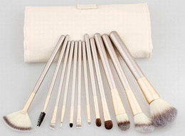 Discount gold make up bag - 12PC Persian Synthetic hair Make up Brushe Sets with Cosmetic Bag