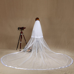 sequin yarn white Australia - New Hot Saling Soft Tulle 2T Ribbon Edge With Comb Lvory White Wedding Veil Cathedral Bridal Veils Three Meters Long
