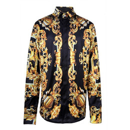 Down shows online shopping - 2016 New Arrival Brand Royal Style Shirts Fahion Shows Fabric Silk Shirts Men s Long Sleeve High Quality Print Shirts