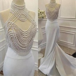 China Evening Dresses 16 Canada - Luxury Evening Dresses 2018 White Satin High Neck Gorgeous Pearls Beading Sheer Top Mermaid Long Formal Party Prom Gowns Custom Made China