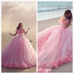 Picture Babies Gown Canada - Hot Sale 2018 Quinceanera Dresses Off the Shoulder Ball Gowns Sweet Sixteen Girl Dresses Quinceanera Gowns With Hand Made Flower Baby Pink