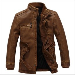 acrylic painting patterns NZ - High Quality Washed Pu Leather Jacket Men Winter Thick Windbreaker Warm Male Leather Jacket Stand Collar Slim Fit Outwear Coat