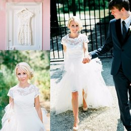 Princess Wedding Dresses Detachable Skirt Canada - Short High Low Wedding Dress with Detachable Train 2016 Cap Sleeve Lace Hi Lo Wedding Dresses Removable Skirt Vintage Cheap