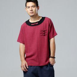 cfa682721b84 Wholesale-Summer high quality pure linen plus size casual men s shirt short sleeve  men s shirts loose men shirt 5 colors