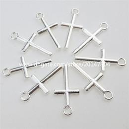 Venta al por mayor de 12895 100PCS Aleación Plata Color Religioso Mini Cruz Colgante Encantos