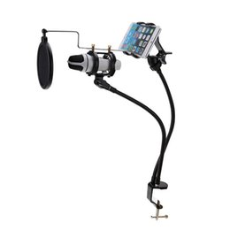 microphone suspension UK - Freeshipping 360 Degree Microphone Suspension Boom Arm Stand Mount MV Stent for 3.5-6'' Mobile Phone High Quality