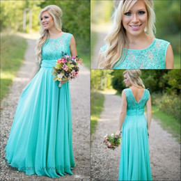 Wholesale 2019 New Teal Country Bridesmaid Dresses Scoop A Line Chiffon Lace V Backless Long Cheap Bridesmaids Dresses for Wedding BA1513