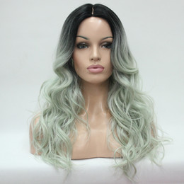 long lace wig cuts UK - Do Not Cut Lace Front! Hivision Heat-ok Quality Ombre Black to Celadon Wavy Long Wig small edge lace front