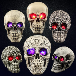 Glow Costumes Canada - Party Supplies Halloween Prop Glowing Skull Horrible Ghost Head Flash Light Resin Tricky Toys More Type For Party Club Decorations