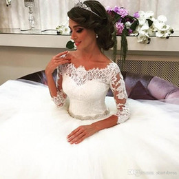 Robe De Mariée Arabe Pas Cher Pas Cher-Gorgeous Lace Ball Gown Robes de mariée Elegant Sleeve Lace Robes de mariée Arabic Tulle 2016 Cheap Plus Size Maternity Wedding Dresses