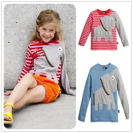Discount kids elephant top - Mikrdoo Casual Baby Boy Girl T Shirt Kids Long Sleeve T-shirt Children Elephant Striped Top Lovely Clothing Set Spring A