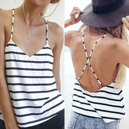 Camisole À Rayures De Dames Pas Cher-Vente en gros-Fashion Summer Style de Sexy Vest Tops Blusas femmes Ladies manches Casual Striped Tank Tops Backless Camisole # A61649