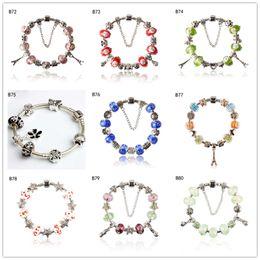 $enCountryForm.capitalKeyWord NZ - Brand new women's Tibetan silver glass beads Charm Bracelet EMPDB8,flower heart DIY European Beads bracelet 6 pieces a lot mixed style