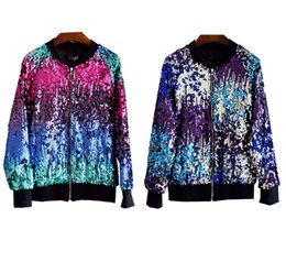 Wholesale red baseball jacket women for sale – winter Fashion Cool Women Gradient Color Baseball Jacket Sequins Ladies Outerwear Casual Coat
