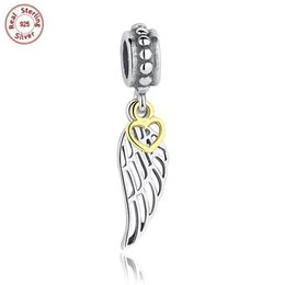 Feather jewelry diy online shopping - 3pcs Authentic Sterling Silver Charms Pendant Angel Wings Feather European Beads Fit Bracelet Bangle Necklace DIY Jewelry