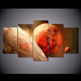 posters canvas prints Australia - 5 Pcs Set Framed Printed Planet of the universe Painting Canvas Print room decor print poster picture canvas Free shipping NY-5765