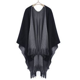 $enCountryForm.capitalKeyWord Canada - Wholesale- New Winter Women Loose Tassel Oversized Knitted Cashmere Women Long Thick Poncho Capes Duplex Shawl Cardigan Sweater WCDCP611001