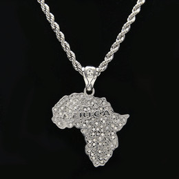 africa map pendant necklace NZ - Women Mens Chain Africa Map Pendant Necklace Yellow Gold Plated Iced Out Paved Rhinestones Bling Bling Jewelry Hiphop