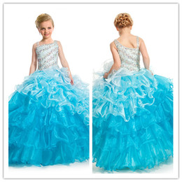 Wholesale Meilleures ventes Mutil color Little Girls Pagent Robes Strap Beaded Bodice Ruffles Organze Floor length Flower Girls Dress